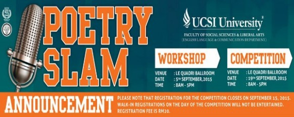 Let yourself speak: UCSI Poetry Slam this 19 September 2015