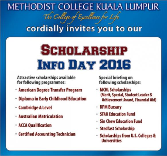 MCKL Scholarship Info Day 2016