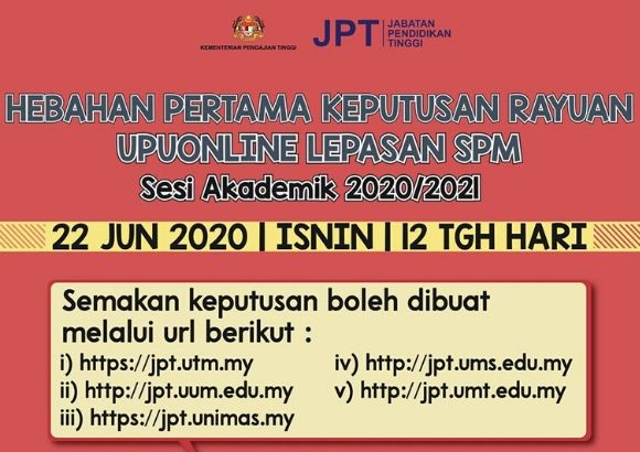 UPUOnline Rayuan Results Out Today