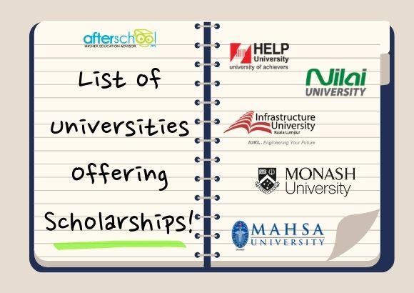List of Universities offering Scholarships