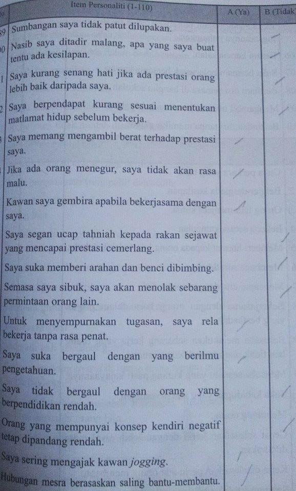 soalan ujian medsi personaliti. Sumber : Afterschool.my