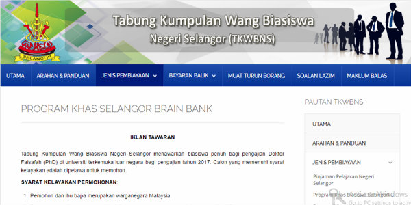 Biasiswa Tabung Kumpulan Wang Biasiswa Negeri Selangor Dibuka Sekarang