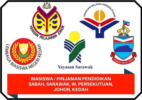 Biasiwa/Pinjaman Pemboleh Ubah Pendidikan yang Ditawarkan oleh Negeri Sabah, Sarawak, Wilayah Persekutuan, Johor & Kedah