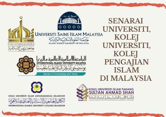 Senarai Keseluruhan Universiti, Kolej, Institut yang Tawar Kursus Berkaitan Pengajian Islam di Malaysia