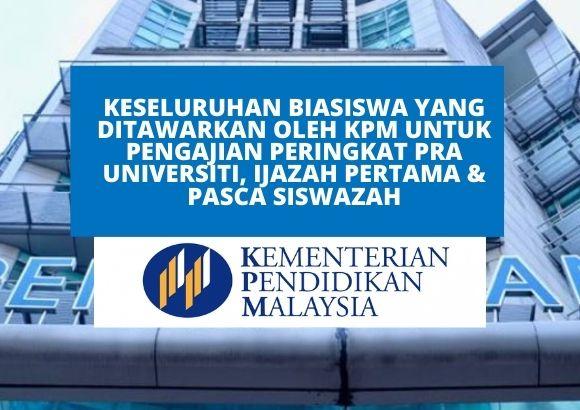 Senarai Semua Biasiswa yang Ditawarkan oleh Kementerian Pendidikan Malaysia (KPM)