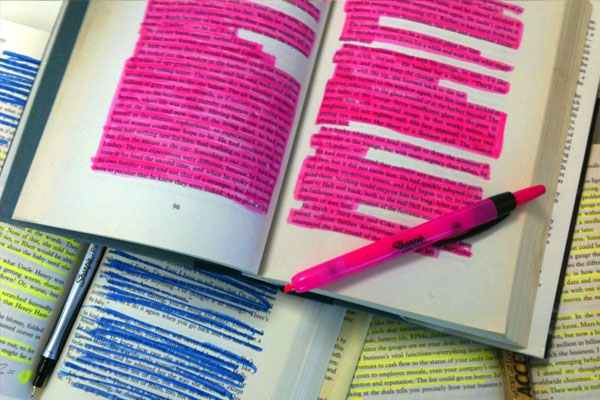Study tips - highlighting highlighter notes books