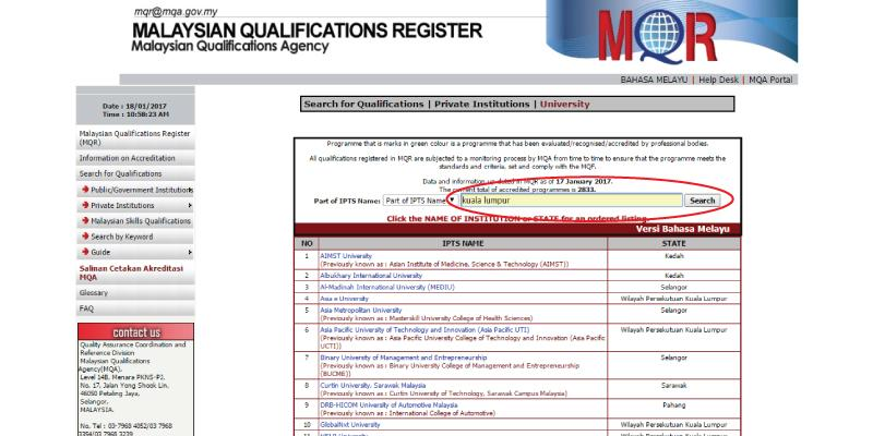 How to check if your course is accredited by MQA?