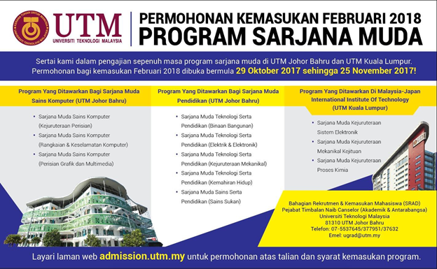 Apply For Utm S Second Intake Degree In February 2018