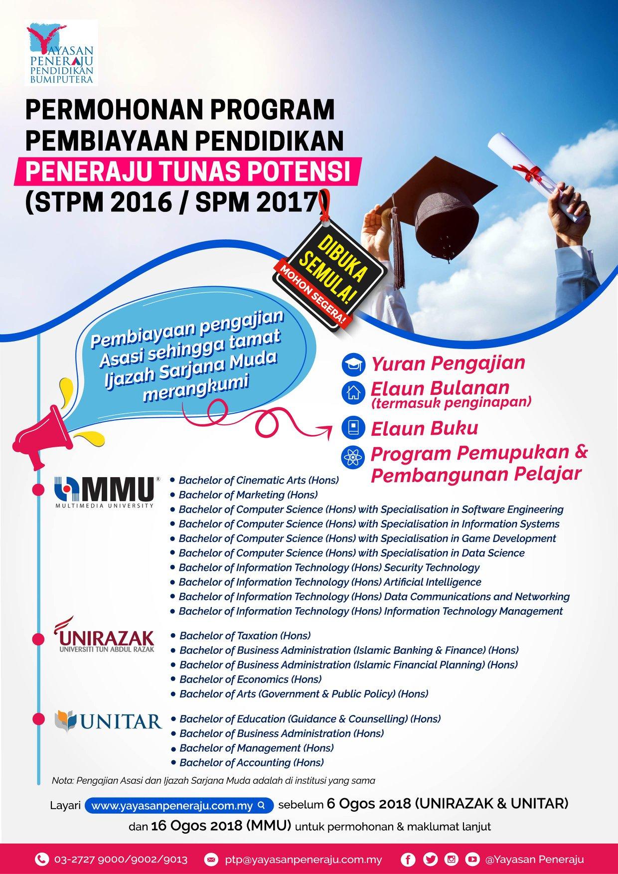 Deadline Extension For Education Financial Programme By Yayasan Peneraju
