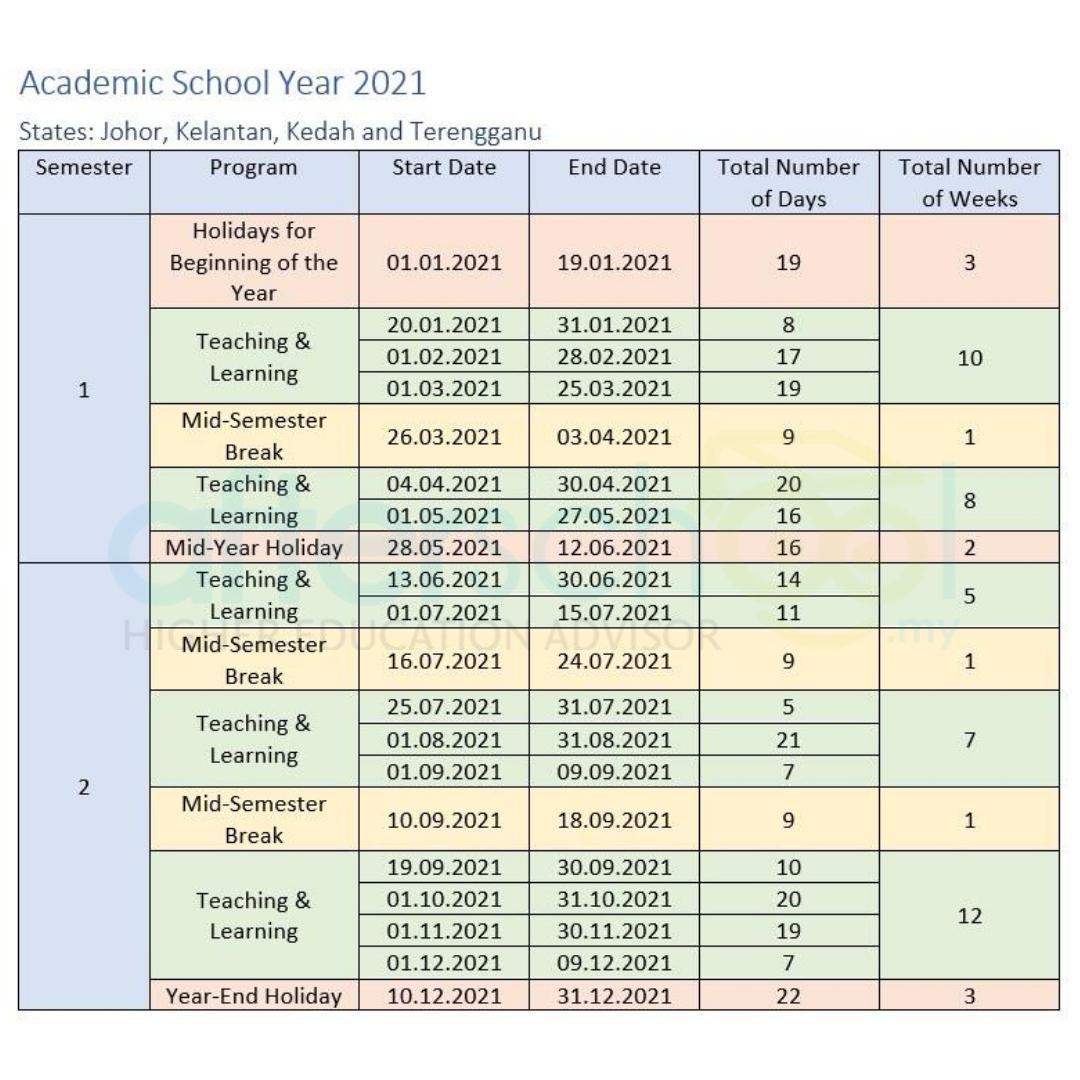 Georgia Tech Academic Calendar 2022.2021 Academic Calendar For Malaysian Schools